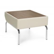 Triumph Series Laminate Top Table with Vinyl Border and Chrome Frame, Cream/Bronze