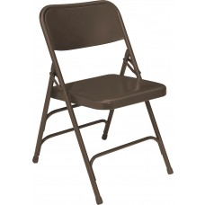Brown Premium All-Steel Brace Double Hinge Folding Chairs Carton of 4