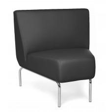 Triumph Series Armless 45 Degree Lounge Chair with Vinyl Seat and Chrome Frame, Black