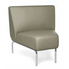 Triumph Series Armless 45 Degree Lounge Chair with Vinyl Seat and Chrome Frame, Taupe