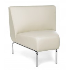 Triumph Series Armless 45 Degree Lounge Chair with Vinyl Seat and Chrome Frame, Cream