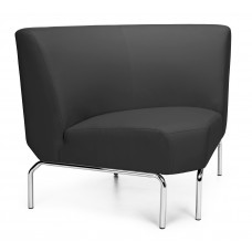 Triumph Series Armless 90 Degree Lounge Chair with Vinyl Seat and Chrome Frame, Black