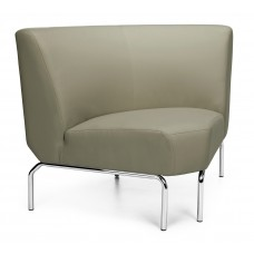 Triumph Series Armless 90 Degree Lounge Chair with Vinyl Seat and Chrome Frame, Taupe