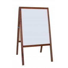 """42"""" H x 24"""" W Marquee Easel (stained hardwood) White dry erase/Black chk."""