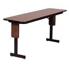 "3/4"" High Pressure Folding Seminar Table with Panel Leg - 18x60"" - Fusion Maple"