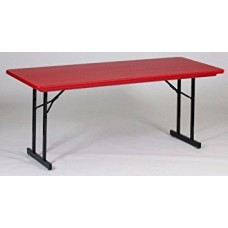 Heavy Duty Blow-Molded Folding Table with T-Leg - 30x72 - Red