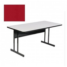 "Keyboard Height Blow-Molded Plastic Top Computer/Training Tables - 24x48"" - Red"