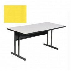 "Keyboard Height Blow-Molded Plastic Top Computer/Training Tables - 30x72"" - Yellow"