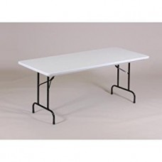 "Anti-Microbial Blow-Molded Folding Table - 30x72"" - Gray Granite"