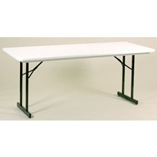 Heavy Duty Blow-Molded Folding Table with T-Leg - 30x72 - Gray Granite