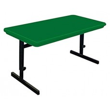 "Adjustable Height Blow-Molded Plastic Top Computer/Training Tables - 24x48"" - Green"