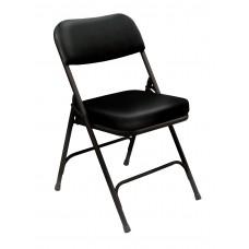 "Black 2"" Vinyl Upholstered Seat Folding Chairs Carton of 2"