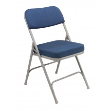 """Regal Blue 2"""" Fabric Upholstered Seat Folding Chairs Carton of 2"""