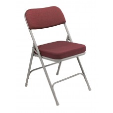 """New Burgundy 2"""" Fabric Upholstered Seat Folding Chairs Carton of 2"""