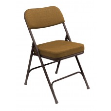 """Antique Gold 2"""" Fabric Upholstered Seat Folding Chairs Carton of 2"""