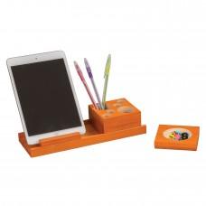 Splash™ Multi-Colored Wood Desk Set - Orange