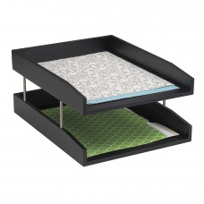 Wood Double Letter Tray - Black
