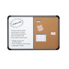 """Combo Dry Erase/Cork Board, Blow Mold Frame, 36"""" x 24"""" - Charcoal"""