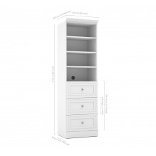 Versatile by Bestar 25'' Storage Unit with 3-Drawer set Unit in White
