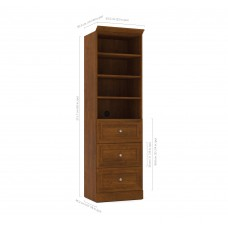 Versatile by Bestar 25'' Storage Unit with 3-Drawer set in Tuscany Brown