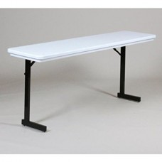 Adjustable Height Heavy Duty Blow-Molded Folding Seminar Table with T-Leg - 18x72 - Gray Granite