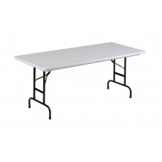 "Height Adjustable Anti-Microbial Blow-Molded Folding Table - 30x72"" - Gray Granite"