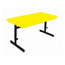 "Adjustable Height Blow-Molded Plastic Top Computer/Training Tables - 30x72"" - Yellow"