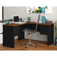 Somerville L-Shaped desk in Black & Tuscany Brown