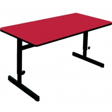 "Adjustable Height 1 1/4"" High Pressure Top Computer/Training Tables  - 24x60"" - Red"