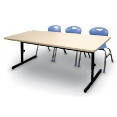 "Adjustable Height Blow-Molded Plastic Top Computer/Training Tables - 30x60"" - Grey Granite"