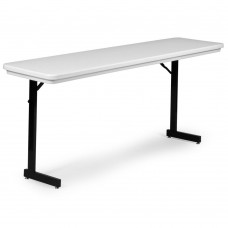 Heavy Duty Blow-Molded Folding Seminar Table with T-Leg - 18x72 - Mocha Granite