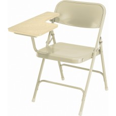 Beige Premium Folding Chairs with Tablet Arm, Carton of 2
