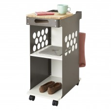 Safco Products Mini Rolling Storage Cart 5209WH, Wood Top Worksurface, Mobile Cart, Silver Steel Side Panels