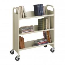 Steel Single-Sided Book Cart - 3 Shelves