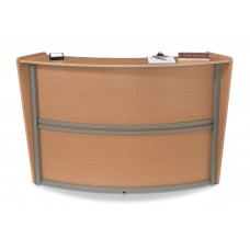OFM Marque Series Single-Unit Curved Reception Station, Maple