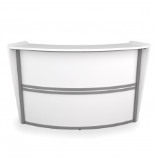 OFM Marque Series Single-Unit Curved Reception Station, White