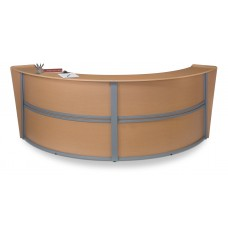 OFM Marque Series Double-Unit Curved Reception Station, Maple