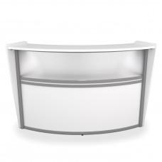 OFM Marque Series Plexi Single-Unit Curved Reception Station, White