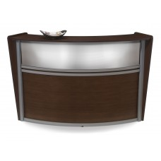 OFM Marque Series Plexi Single-Unit Curved Reception Station, Walnut