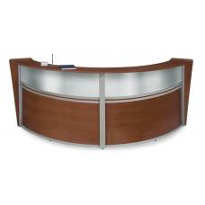 OFM Marque Series Plexi Double-Unit Curved Reception Station, Cherry
