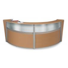 OFM Marque Series Plexi Double-Unit Curved Reception Station, Maple