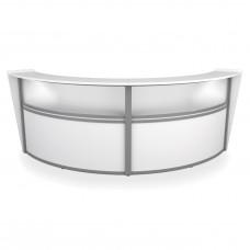 OFM Marque Series Plexi Double-Unit Curved Reception Station, White