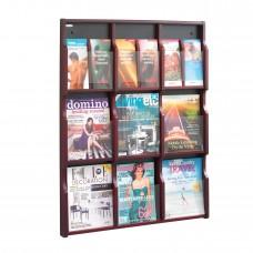 Expose™ 9 Magazine 18 Pamphlet Display - Mahogany/Black