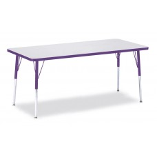 """Berries® Rectangle Activity Table - 30"""" X 72"""", A-height - Gray/Purple/Purple"""