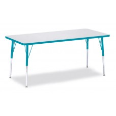 """Berries® Rectangle Activity Table - 30"""" X 72"""", A-height - Gray/Teal/Teal"""