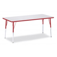 """Berries® Rectangle Activity Table - 30"""" X 72"""", A-height - Gray/Red/Red"""
