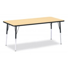 """Berries® Rectangle Activity Table - 30"""" X 72"""", A-height - Maple/Black/Black"""