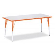 "Berries® Rectangle Activity Table - 30"" X 72"", A-height - Gray/Orange/Orange"