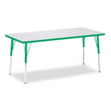 """Berries® Rectangle Activity Table - 30"""" X 72"""", A-height - Gray/Green/Green"""