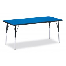 """Berries® Rectangle Activity Table - 30"""" X 72"""", A-height - Blue/Black/Black"""